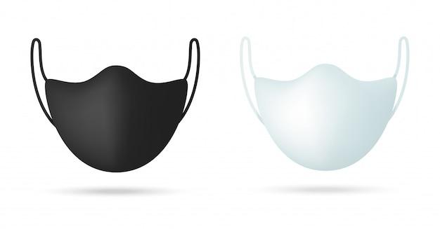 Modello realistico maschera medica nera. maschera di salute per l'isolato di protezione della corona su fondo bianco.