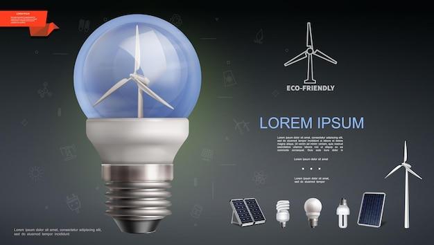 Modello realistico di elettricità moderna con lampadine a risparmio energetico, pannelli solari e illustrazione del mulino a vento