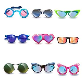 Occhiali da sole di protezione solare realistici in stile moderno con lenti colorate e montature ov