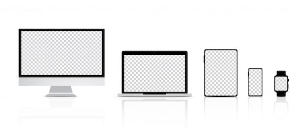 Realistico monitor, laptop, tablet, smartphone e smart watch sullo sfondo del prodotto. tecnologia led trasparente dispositivo concept design.