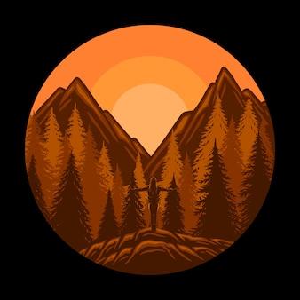 Montagne realistiche paesaggio tramonto panorama alberi di pino e montagne sagome Vettore Premium