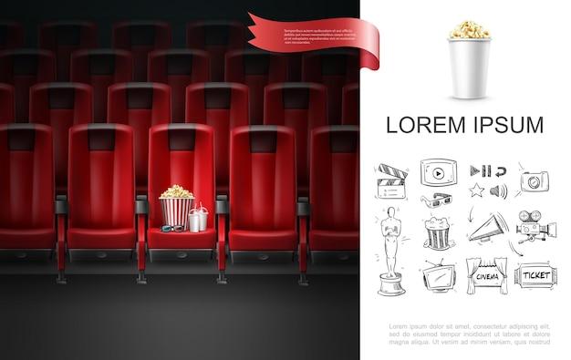 Concetto di cinema realistico con bicchieri 3d frappè tazze a strisce secchio di popcorn sul sedile del cinema e icone di cinematografia di schizzo