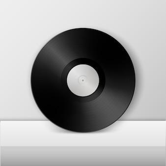 Disco lp in vinile con grammofono musicale realistico modello di progettazione del gioco lungo retrò
