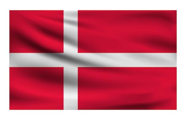 Bandiera nazionale realistica della danimarca Vettore Premium