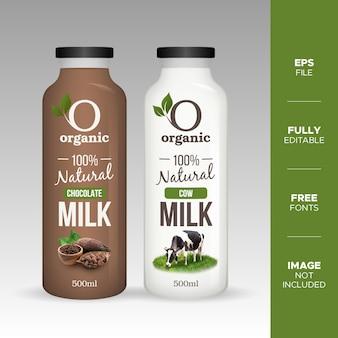 Mockup di bottiglia di vetro di latte di mucca e cioccolato naturale realistico