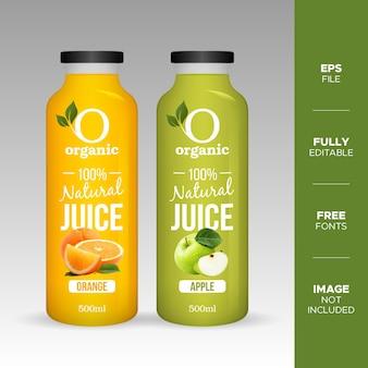 Mockup di bottiglia di vetro di succo di frutta naturale realistico