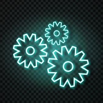 Realistiche ruote dentate al neon sullo sfondo trasparente per la decorazione e il rivestimento. concetto di servizio e riparazione.