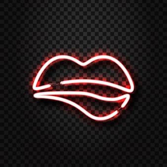 Le labbra erotiche al neon realistiche firmano per la decorazione e la copertura sullo sfondo trasparente. concetto di spettacolo erotico e night club.