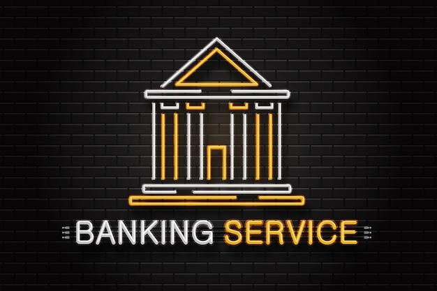 Segno retrò al neon realistico per servizio bancario sullo sfondo del muro per la decorazione e la copertura.