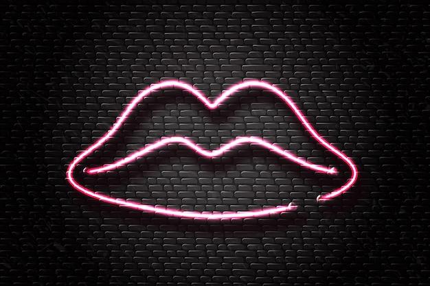 Segno retrò al neon realistico di labbra per la decorazione e la copertura sullo sfondo della parete. concetto di cosmetici e bellezza.