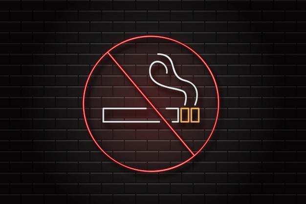 Segno retrò al neon realistico di vietato fumare sullo sfondo della parete per la decorazione e il rivestimento.