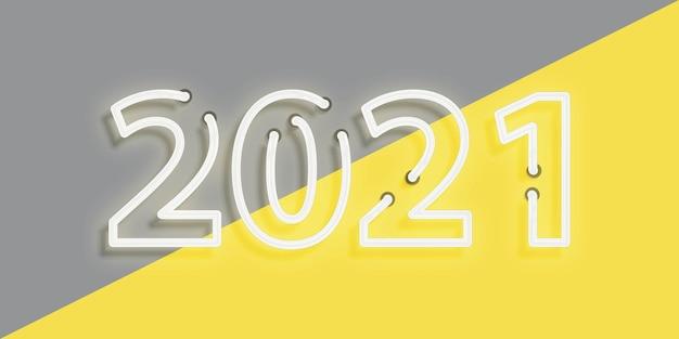 Insegna al neon realistica dello sfondo 2021