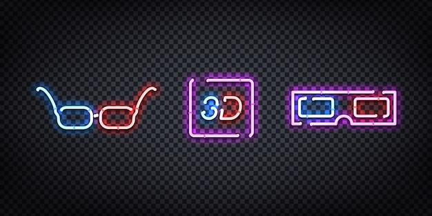 Insegna al neon realistica del logo degli occhiali 3d per la decorazione e la copertura sullo sfondo trasparente. concetto di cinema, studio cinematografico e regista.