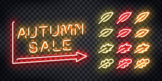 Insegna al neon realistica per la vendita autunnale per la decorazione e la copertura sullo sfondo trasparente. concetto di autunno felice.