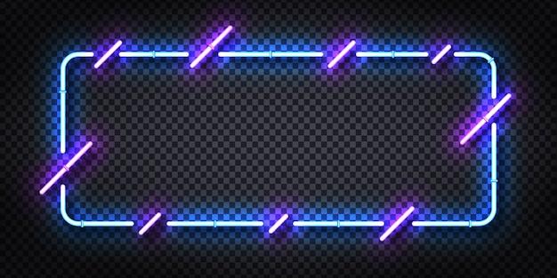 Segno al neon realistico di cornice blu e viola per modello e layout.