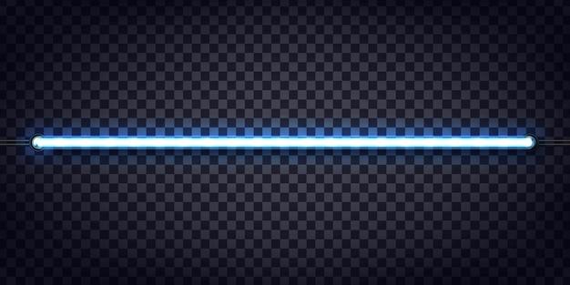 Insegna al neon realistica del tubo blu per la decorazione e la copertura sullo sfondo trasparente.