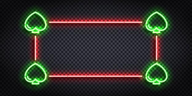 Segno al neon realistico del telaio card suit