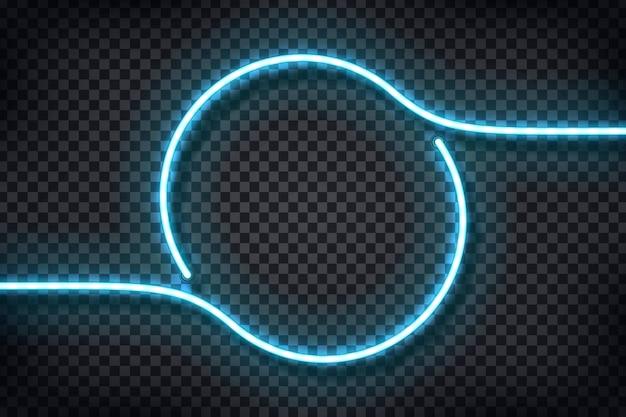 Insegna al neon realistica del telaio del cerchio per modello e layout su sfondo trasparente.
