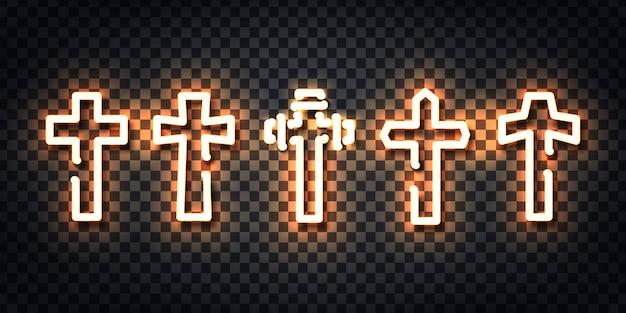 Insegna al neon realistica del logo croce per la decorazione del modello e la copertura del layout sullo sfondo trasparente.