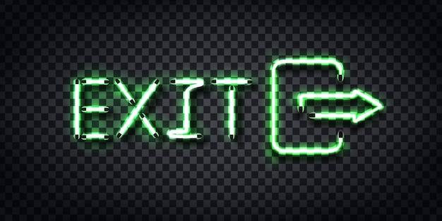 Insegna al neon realistica del logo exit per la decorazione del modello e la copertura sullo sfondo trasparente.