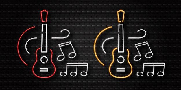Insegna al neon realistica del logo della chitarra per la decorazione del modello sullo sfondo della parete. concetto di musica e concerto dal vivo.