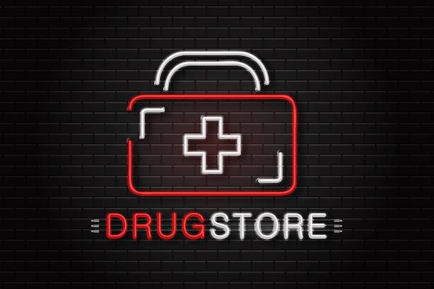 Logo realistico dell'insegna al neon per farmacia per la decorazione sullo sfondo della parete.