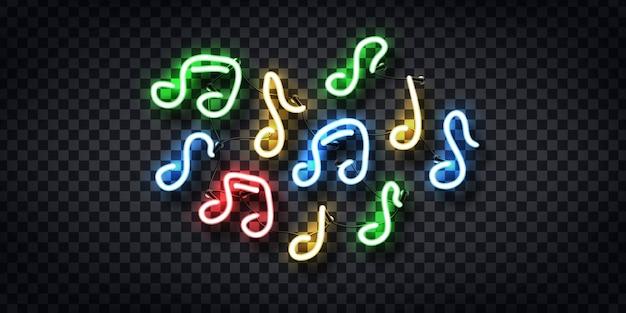 Insegna al neon realistica di note per la decorazione e la copertura sullo sfondo trasparente. concetto di musica e dj.