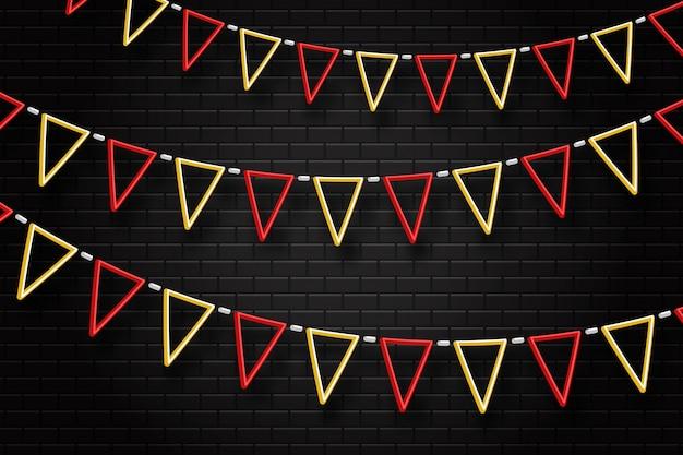 Insegna al neon realistica di bandiere di partito per la decorazione e la copertura sullo sfondo trasparente. concetto di compleanno, vacanza e celebrazione.
