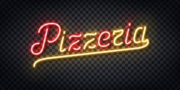 Insegna al neon realistica del logo di tipografia pizzeria per la decorazione del modello e la copertura sullo sfondo trasparente. concetto di ristorante, caffetteria, pizza e cibo italiano.