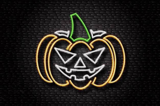 Insegna al neon realistica di zucca per la decorazione e la copertura sullo sfondo della parete. concetto di happy halloween.