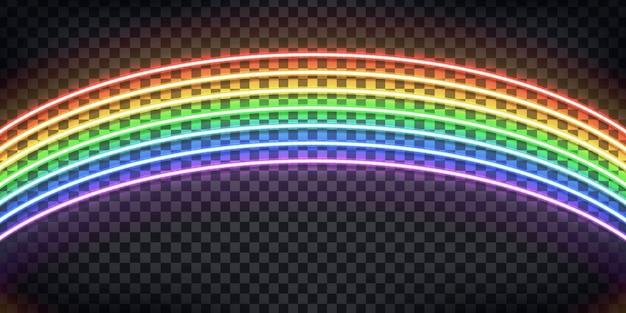 Insegna al neon realistica dell'arcobaleno per la decorazione e la copertura sullo sfondo trasparente.