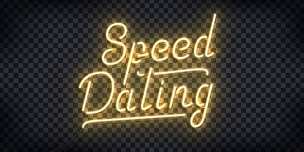Insegna al neon realistica del logo speed dating per la decorazione dell'invito e la copertura del modello sullo sfondo trasparente.
