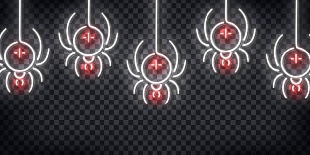 Insegna al neon realistica del modello di ragni per la decorazione e la copertura sullo sfondo trasparente. concetto di happy halloween.