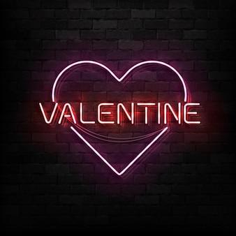 Segno al neon realistico di san valentino