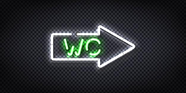 Segno al neon realistico della freccia wc