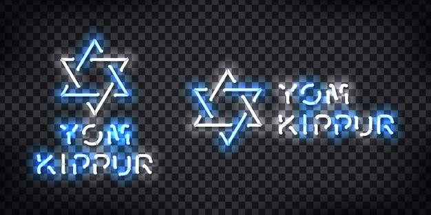 Insegna al neon realistica del logo yom kippur per la decorazione del modello e la copertura sullo sfondo trasparente.