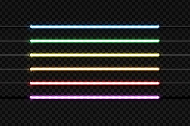 Tubi al neon realistici per la decorazione e il rivestimento sullo sfondo trasparente.