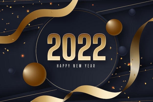 Sfondo realistico del nuovo anno con oro