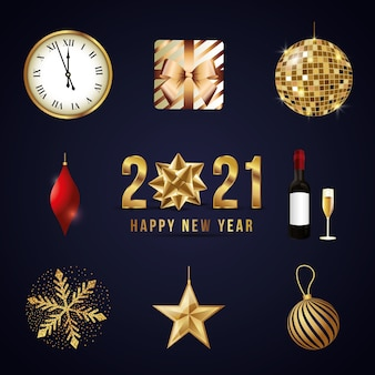 Icone realistiche di nuovo anno su sfondo scuro. nuovo anno