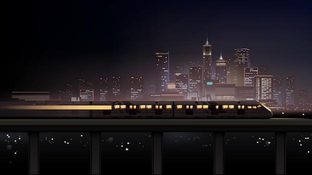 Paesaggio notturno realistico della città con grattacieli e treno in movimento di fronte