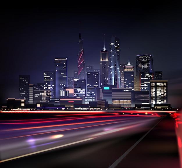 Paesaggio notturno realistico della città con grattacieli e strada con luci dal movimento delle auto