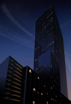 Vista realistica del grattacielo notturno dal basso