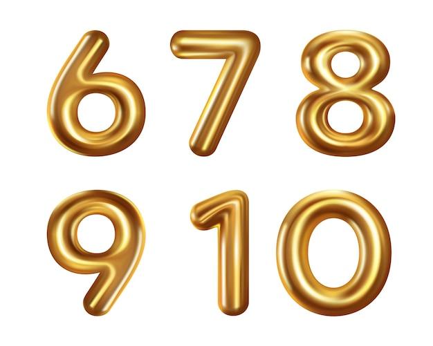 Raccolta di numeri realistici isolato su bianco