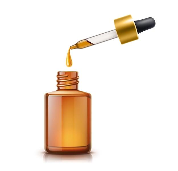 Pipetta per olio realistica con goccia di olio e bottiglia vuota marrone. cura della pelle cosmetica, essenza per la cura dei capelli, mockup di prodotti di medicina naturale. prodotto biologico all'essenza di eucalipto senza marchio