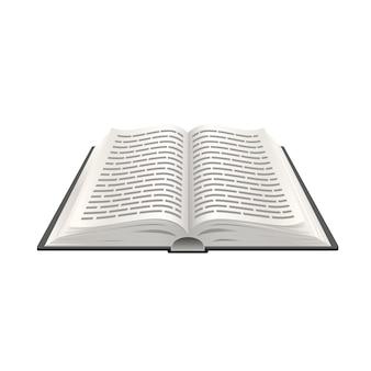 Libro aperto realistico 3d, educazione all'oggetto di carta. illustrazione vettoriale