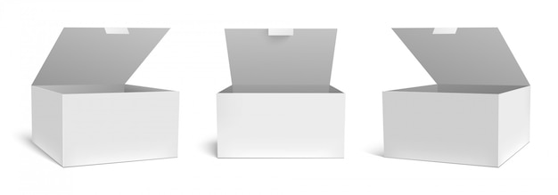 Scatola aperta realistica. confezioni regalo di imballaggio bianco, pacchetto aperto e set di modelli di pacchetti rettangolari vuoti. contenitore per pacchi di cartone quadrato, collezione di clipart di cartone per astuccio medico