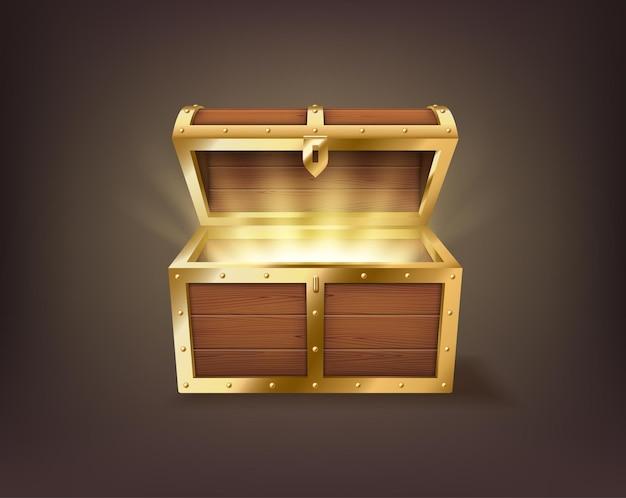 Cassa aperta realistica, vecchia scatola di legno del tesoro vintage, pirata dover con l'interno dorato luminoso