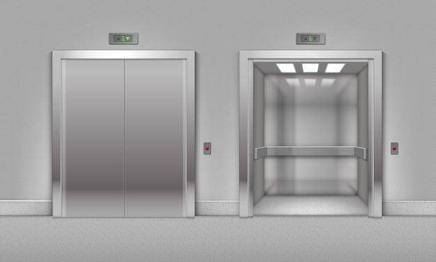Porte dell'ascensore dell'edificio per uffici in metallo cromato aperte e chiuse realistiche