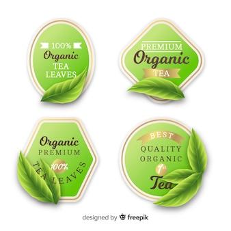 Set di etichette di tè biologico realistico Vettore Premium