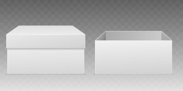 Scatole da imballaggio realistiche. scatola bianca vuota, modello del contenitore di cartone chiuso aperto dell'involucro di carta del pacchetto del consumatore